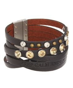 Love this Black Leather 'Keep Calm' Bracelet by Galaxy Belts on #zulily! #zulilyfinds