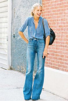 Chambray top paired with flared jeans