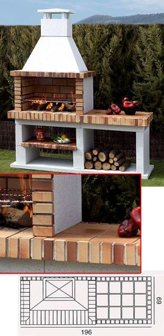Fire Pits Ideas For a Comfortable Gathering Place Grilling Patio. Nestling a built-in barbecue amid wealthy plantings makes for a more inviting dining area. Counter express was included neighboring to the grill as a landing. Outdoor Kitchen Bars, Outdoor Kitchen Design, Patio Grill, Bbq Grill, Parrilla Exterior, Brick Bbq, Built In Grill, Fire Pit Backyard, Outdoor Cooking