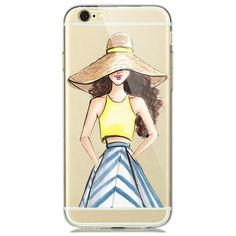 Fashion illustration Modern Dress Shopping Girl Case for funda iPhone 7 6 6s Plus 5s Transparent Clear Soft Silicon Phone Cover