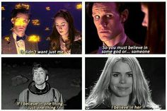It hits me, thinking about this, how much Rose and the Doctor had to go through together to earn each other's trust. There were some serious trials--Rose saving her father, Nine's regeneration--but they came out of it so strongly trusting in each other. So much so that Ten believes in her over anything else he's ever seen or known. Think about that.