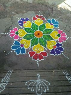 Easy Rangoli Designs Videos, Rangoli Designs Latest, Simple Rangoli Designs Images, Rangoli Designs Flower, Rangoli Border Designs, Rangoli Patterns, Rangoli Ideas, Rangoli Designs Diwali, Rangoli Designs With Dots