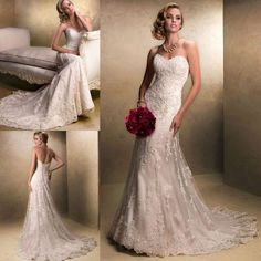 This Maggie Sottero Wedding Dress Emme with gorgeous beaded lace motifs dancing across tulle. This slim A-line wedding dress features a delicate, sweetheart neckline. You can have the finished as a corset back or zipper back closure. Wedding Dress Empire, Ivory Lace Wedding Dress, Boho Wedding Dress Bohemian, Maggie Sottero Wedding Dresses, Wedding Dress Sizes, Used Wedding Dresses, Cheap Wedding Dress, Bridal Lace, Bridal Dresses