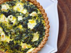 Potato, Spinach, and Goat Cheese Quiche.  Looks like the crust is the only source of gluten here, so use a gluten free crust!