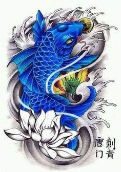 Resultado de imagen para tatuajes pez koi negro