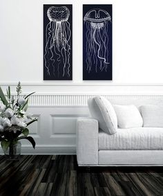 Loving this Traveling Jellyfish Wrapped Canvas Set on #zulily! #zulilyfinds
