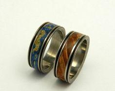 Wooden Wedding Ring Titanium Wedding Band by MinterandRichterDes