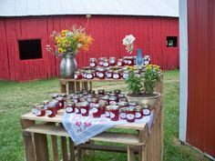 Dad built a table/shelf from wooden pallets to display the strawberry jam my Mom and I made for the guests.