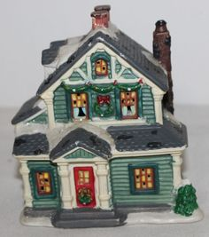 cobblestone corners 2003 christmas village house glitter snow 2 story green