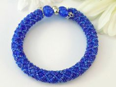 Blue Cats Eye Beaded Memory Wire Bracelet - Free Shipping - pinned by pin4etsy.com