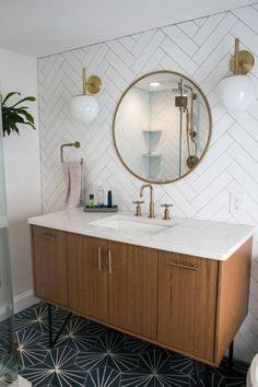 Small bathroom renovations 652318327255871712 - Tiny Master Bathroom Renovation Round Mirror Vanity Source by designsdaydream Bathroom Flooring, Bathroom Furniture, Bathroom Wall Tiles, Bathroom Layout, Bathroom Colors, Colourful Bathroom Tiles, Tiled Walls In Bathroom, Wallpaper In Bathroom, The Block Bathroom
