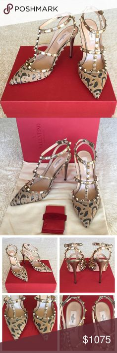 """NEW VALENTINO ROCKSTUD CALF-HAIR 100MM PUMPS Authentic. Brand new with tags. They will come with dust bag and the box. Made in Italy. Retail price: 1,345.00 plus tax. They are sold out everywhere. PLEASE NO TRADE. THE PRICE IS FIRM.  Valentino pump in leopard-print dyed calf hair (New Zealand). Signature Rockstuds on vitello leather trim. 4"""" covered heel. Pointed toe. Caged vamp. Adjustable buckle strap connects to halter. Smooth outsole. Made in Italy. Valentino Shoes Heels"""