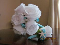 White and Caribbean Blue / Aqua Wedding Bouquet with White Starfish $30