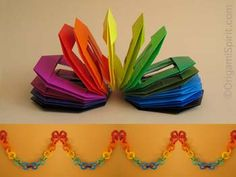 Origami spiral spring toy and decorative chain