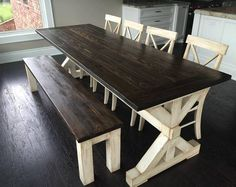 Rustic Kitchen Tables Ikea Storage Cabinets Set A Simply Stylish And Anchor In Your Dining Room With This Antiqued Trestle Farm Table Etsy Benches Bench For