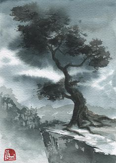 Lonely Tree (Traditional Chinese landscape inspired watercolor 5x7)