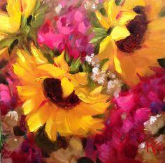 Sunflowers & Stock II original fine art by Krista Eaton