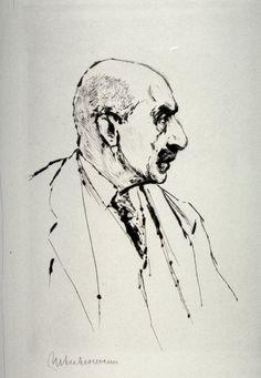 Max Liebermann - Self-Portrait in Profile to the right.