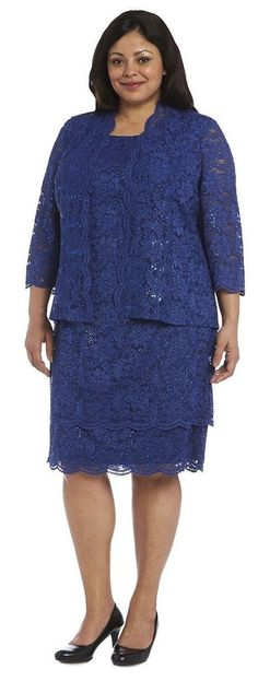 R&M Richards Mother of the Bride Dress Plus Size Short with Jacket