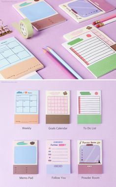 Sticky Notes / Weekly Planner / Checklist / Colorful Notepads / To Do List Notepad / Memo pad / Stationery / Scrapbooking Stationery Pens, Stationery Store, Diy Stationery Design, Diy Stationery Paper, Korean Stationery, Cute School Supplies, Office Supplies, Notes Design, Weekly Planner