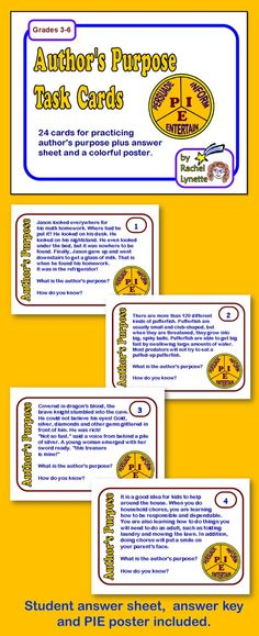 Here are 24 cards to help your students practice determining the author's purpose. This activity is meant to be supplemental and should be used after your students have been introduced to author's purpose and are familiar with the PIE acronym. A PIE poster is included for students to use as a reference. $
