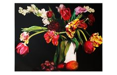 Tulips by Pamela Wolfe.     Oil on canvas, 2011.     h 1420mm x w 1770 mm.