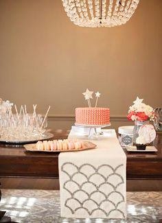 Sparkly star topped birthday cake for a lovely dessert spread