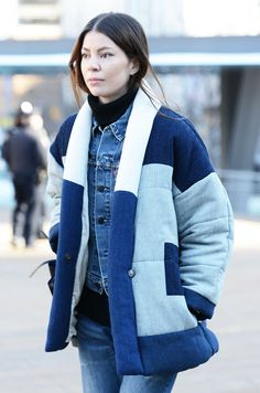 Street Style via Tommy Ton featuring Isabel Marant Dempster Coat in Blue  http://totokaelo.com/isabel-marant/dempster-coat/blue/KHC5D1