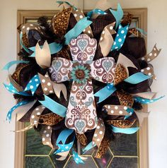 Rustic Cross decomesh Wreath by SammysWreathBoutique on Etsy
