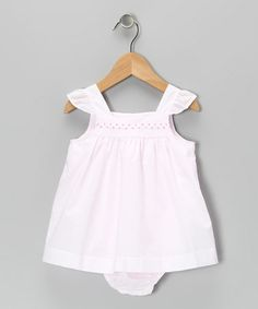 Take a look at this Pink Angel-Sleeve Skirted Bodysuit - Infant by La Fleur & Le Papillon on #zulily today!