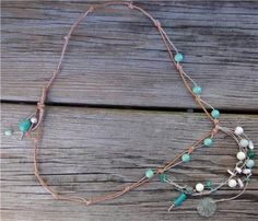 Glass Beads and Leather Necklace Green Patina Sea Shell Sand Dollar Charms 530~