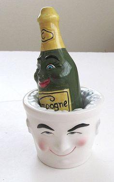 Anthropomorphic Champagne Bottle & Ice Bucket Salt and Pepper Shaker Set.