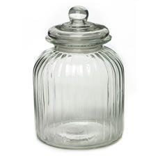 Wilko Storage Jar Ribbed Large Glass