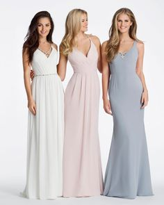 Style 5624 Kimberli Hayley Paige Occasions bridesmaids dress - (Left) Blush chiffon over Cashmere lining A-line bridesmaid gown, draped cross over V-neckline, natural waist with pleated skirt, beaded strap detail at back. Purchase a color swatch here. Blush Bridal, Bridal Gowns, Ivory Bridesmaid Dresses, Wedding Dresses, Bridesmaids, Always A Bridesmaid, Aisle Style, Hayley Paige, Princess Wedding