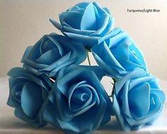 72 ARTIFICIAL FOAM ROSES ON LONG STEM WEDDING FLOWERS CRAFT CORSAGE CAKE/6.7CM…