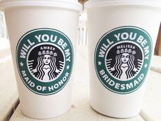 Will You Be My Bridesmaid Starbucks Cup Gifts Starbucks Cup Gift, Bridal Party Invitations, Fairytale Weddings, Wine Bottle Labels, Bridesmaid Gifts, Bridesmaids, Will You Be My Bridesmaid, Hot Coffee, Coffee Tumbler