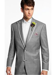 what my date will be wearing!!! Calvin Klein Gray Two-Button Super 110s Satin Edge Peak Lapel