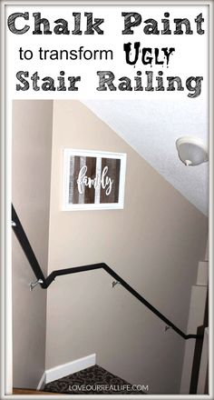 Chalk Paint to transform ugly stair railing