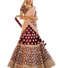 Stylish Bridal Lehengas at Mirraw.com Wedding Lehenga Designs, Maroon Color, Bridal Lehenga, Velvet, Stylish, Beautiful, Fashion, Moda, Fashion Styles