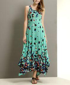 Aqua Paisley Handkerchief Maxi Dress by Reborn Collection #zulily #zulilyfinds