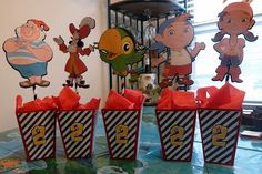 Pirate Party center pieces Jake and the Neverland Pirates