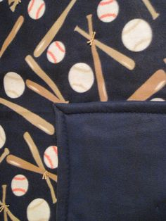 Base ball themed throw on blue backing by JandJblankiesandETC on Etsy
