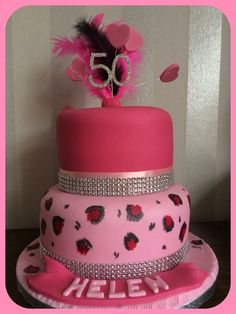 2 tier pink leopard print 50th cake
