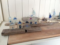 Recycled Fused Glass Sailing Boats and Beach by KateOsmanGlass