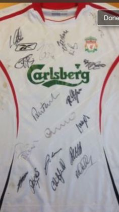 2005 Signed Liverpool Away Football Shirt Signed by Champions League Winners