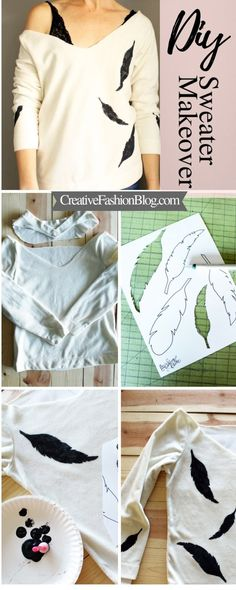 DIY No-Sew Upcycled Sweater Refashion DIY No-Sew Upcycled Sweater Refashion Lisa MechamDIY Fashion 038 Beauty Save Images Lisa MechamDIY Fashion 038 Beauty DIY sweater refashion up cycle This no sew tutorial uses FREE printable stencils and a neckline Diy Clothes Hacks, Diy Clothes Storage, Diy Clothes Refashion, Diy Clothes Videos, Clothing Hacks, No Sew Refashion, Refashioning, Diy Pullover, Pullover Upcycling