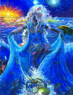 pastel oil collage reina del mar Yemaya by indigoolookun