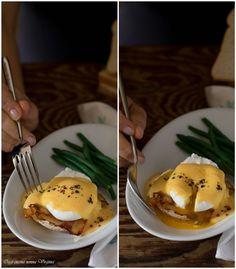 Uova freschissime, pancetta ed una bella fetta di pane casareccio per fare colazione con le uova alla Benedict, ricetta americana con sapori tutti italiani
