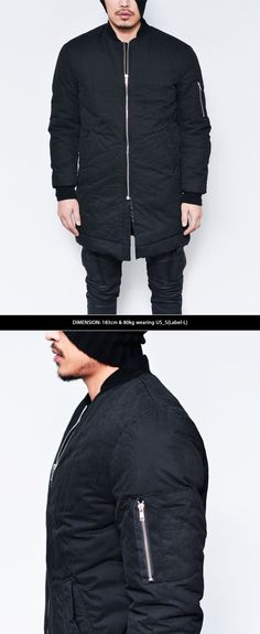 Outerwear :: 8oz Fill Long Slim Street Bomber-Parka 29 - Mens Fashion Clothing For An Attractive Guy Look