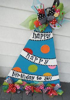 happy birthday, wreath, ORIGINAL..aDOORable aDOORnments...whimsically designed DOOR jewelry , door hanger, birthday party, paper products. $49.95, via Etsy.
